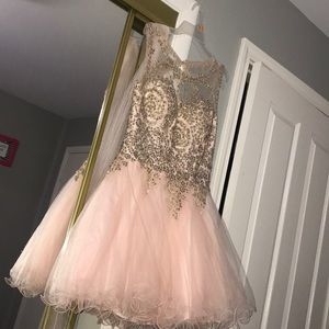 Champagne pink poofy bedazzled dress , laced back